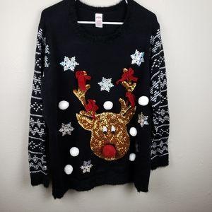 Holiday Time Reindeer Ugly Christmas Sweater 2X